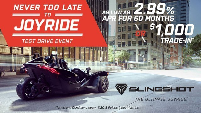 Slingshot Never Too Late to JOYRIDE Test Drive Event